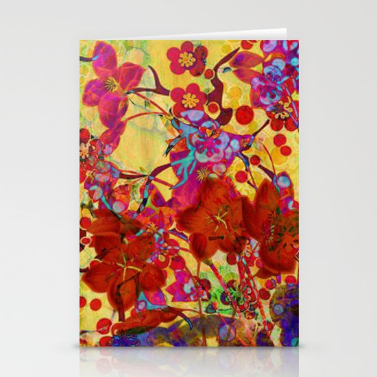 floral on yellow Stationery Cards