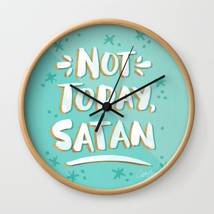 Not Today, Satan – Mint & Gold Palette Wall Clock