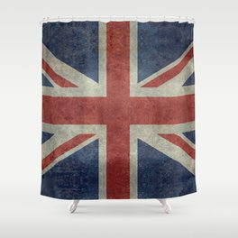 England's Union Jack flag of the United Kingdom - Vintage 1:2 scale version Shower Curtain