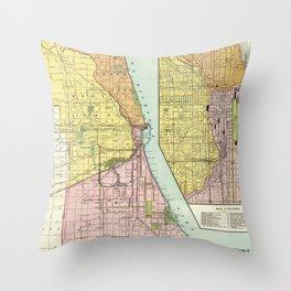 Vintage Chicago Railroad Map (1897) Throw Pillow