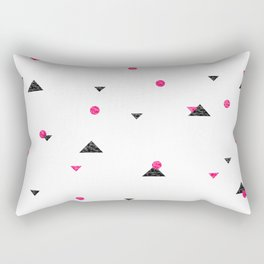 Triangle Explosion - Pink and Black Rectangular Pillow