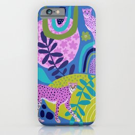 Two Cheetahs on Blue iPhone Case