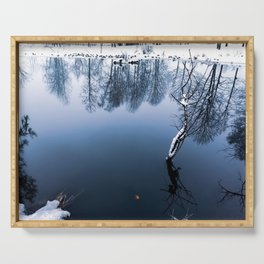 A large pond in the Park in winter, which reflects the crowns of trees Serving Tray