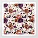 Bohemian orange violet brown watercolor floral pattern by pink_water