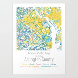 Titles of Public Ways in and around Arlington County Art Print