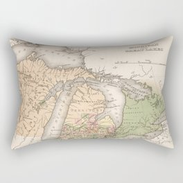 Vintage Map of The Great Lakes (1837) Rectangular Pillow