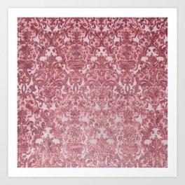 Elegant chic pink burgundy grunge floral damask Art Print