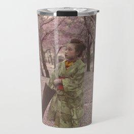 Geisha among Cherry Blossom trees Travel Mug