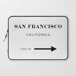San Francisco California City Miles Arrow Landscape Laptop Sleeve