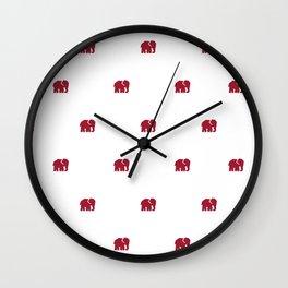 Crimson Elephant Wall Clock
