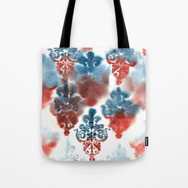 Damask: Red and Blue, Deteriorated Tote Bag