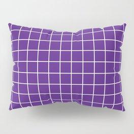 Blue-violet (color wheel) - violet color - White Lines Grid Pattern Pillow Sham