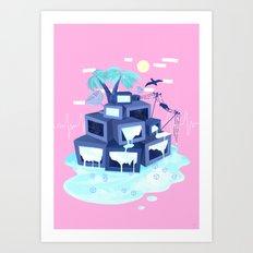 Pixel Island Art Print