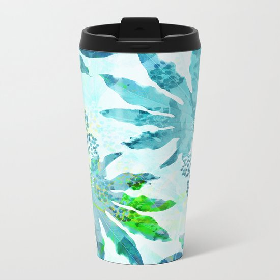 Tropical adventure - Blue Metal Travel Mug