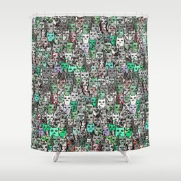 Forest Cats Green Watercolor Shower Curtain