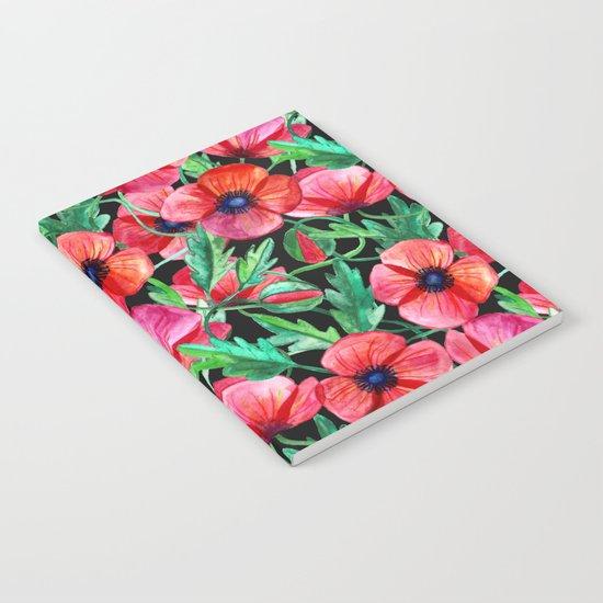 Plenty of Poppies - black Notebook