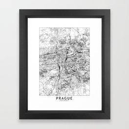 Prague White Map Framed Art Print