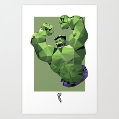 Hulk Polygon Mesh Art Print