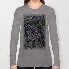 Fishes on a Coral Reef Greens - Zentangle Illustration Long Sleeve T-shirt