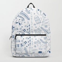 Doodle Christmas pattern blue Backpack