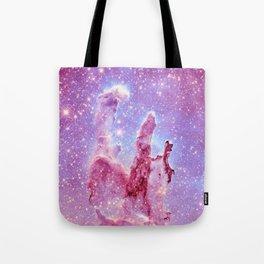Galaxy nebula : Pillars of Creation lavender mauve periwinkle Tote Bag