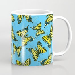 Tiger swallowtail butterfly watercolor pattern blue Coffee Mug
