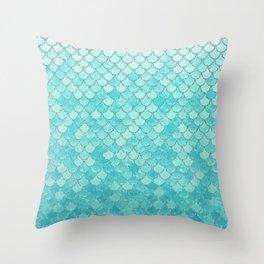 Teal Mermaid Scales Throw Pillow