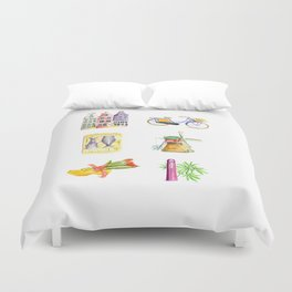 Typical Dutch wooden shoe with tulips Duvet Cover