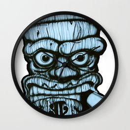 Tiki all made up in blue Wall Clock