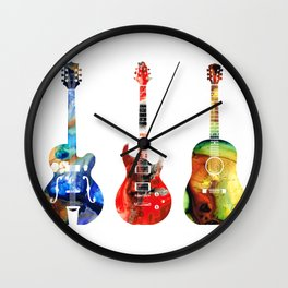 Guitar Threesome - Colorful Guitars By Sharon Cummings Wall Clock