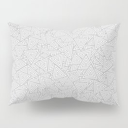 Light Gray Triangles Concentric Polygons Pillow Sham