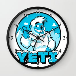 Smiling cartoon yeti Wall Clock