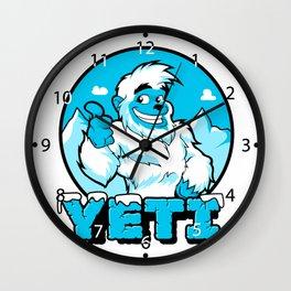 Smiling cartoon yeti Wall Clock