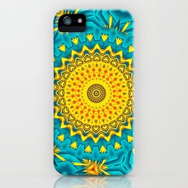 Birds of Paradise Circular Geometric Blended Floral Pattern \\ Yellow Green Blue Teal Color Scheme iPhone Case