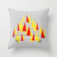 skateboard Throw Pillows featuring Flaming Skateboard by marcusmelton