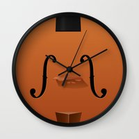 violin Wall Clocks featuring Violin by rob art | illustration