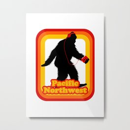 Retro Sasquatch Pacific Northwest Metal Print