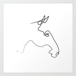 One line Horse 231118 ter Art Print
