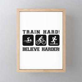 Triathlon Train Hard Gift Framed Mini Art Print