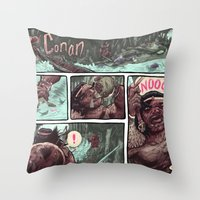 conan Throw Pillows featuring Conan by Logan  Faerber