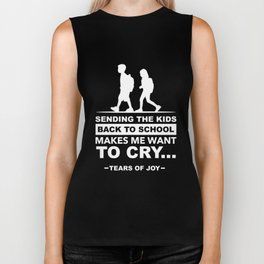 Funny Back to School art for Mom, Dad & Parents Dark Biker Tank