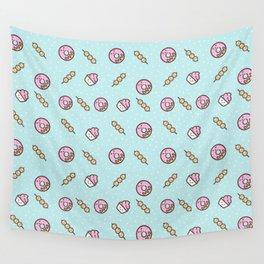 Cute funny teal blush pink food sweet donuts polka dots Wall Tapestry