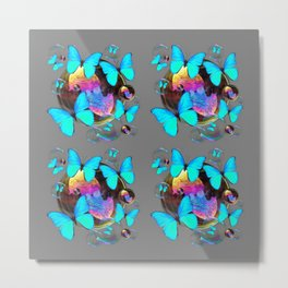MODERN ART NEON BLUE BUTTERFLIES PATTERNS ART Metal Print
