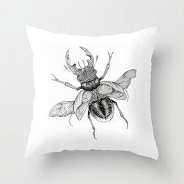 Dotwork Flying Beetle Illustration Throw Pillow