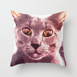 Gray Cat wtih Purple Light Throw Pillow