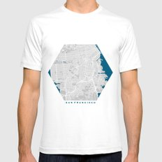 San Francisco city map grey colour White SMALL Mens Fitted Tee