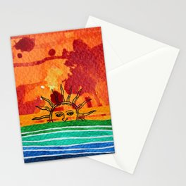 Sunset in planet Bizarro Stationery Cards