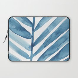 Blue Palm Leaf Crop Laptop Sleeve