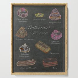 French Pastries Chalk Board Illustration Serving Tray