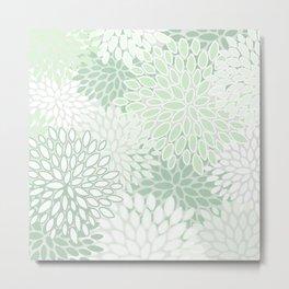 Festive, Floral Prints, Soft, Green and White, Modern Print Art Metal Print